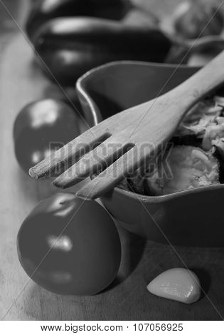 wooden fork fried eggplant with garlic