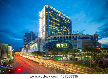 Landscape Of Mbk Shopping Mall In Early Night Time