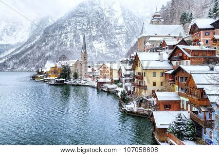Hallstatt By Salzburg, Austria, Traditional Austrian Woodenh Town, Unesco World Culture Heritage Sit