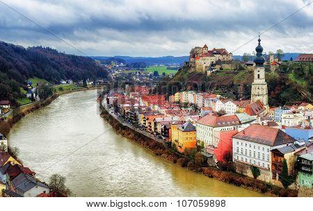 Burghausen, Historical German Town On Salzach River, Bavaria, Germany