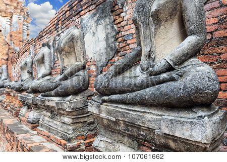 Old Headless Broken Buddha Statue At Ayutthaya Thailand