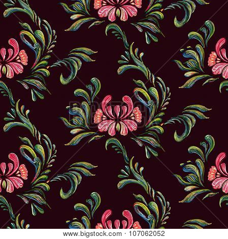 Ethnic flower seamless ornament. Ukrainian traditional style.