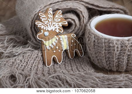 Christmas Cookies In The Form Of A Deer And A Cup Of Tea   .