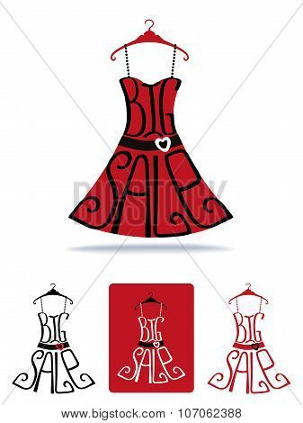Big Sale lettering on Dress shape on hanger.Icon set