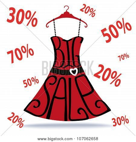 Big Sale lettering.Dress shape on hanger,falling numbers