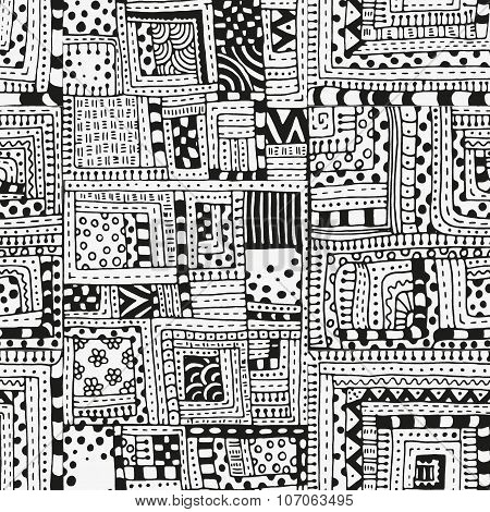 Seamless pattern with abstract figures. Indian, Asian, Ethnic, zentangle, floral  doodle. Black and