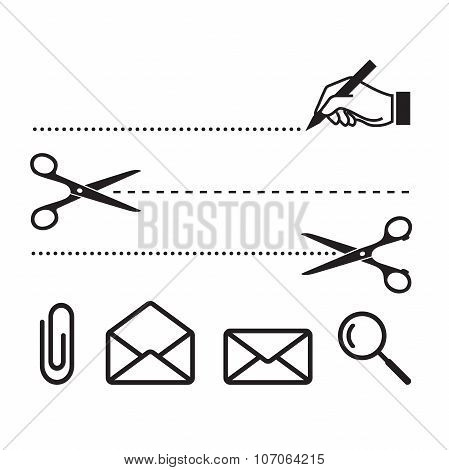 Vector scissors cut lines and icons for notebook, form or worksheet. Search, cut, write, letters and