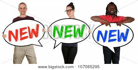 New Promotion Advert Shopping Happy Young People Holding Speech Bubbles