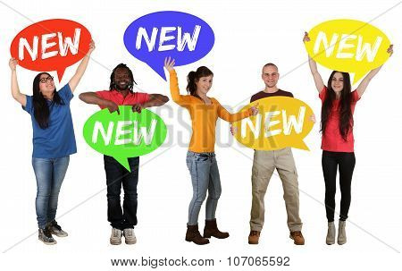 New Promotion Advert Group Of Happy Young People Holding Speech Bubbles