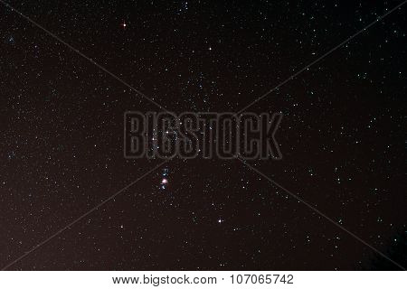 Starfield With Orion And Orion Nebula