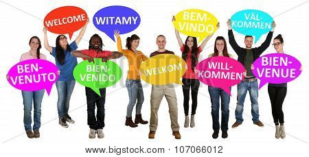 Refugees Welcome In Different Languages Group Of Young Multi Ethnic People
