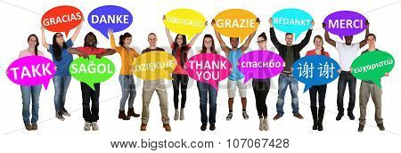 Group Of Young Multi Ethnic People Holding Speech Bubbles With Thank You
