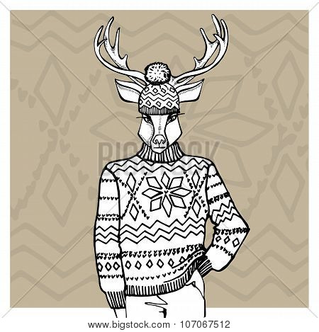 Outline deer in Jacquard hat ,sweater.Winter fashion
