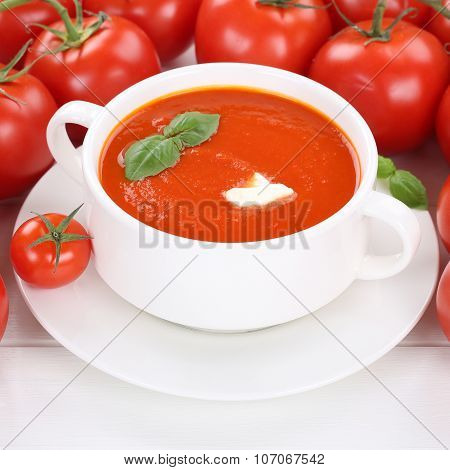 Tomato Soup With Tomatoes In Bowl Healthy Eating