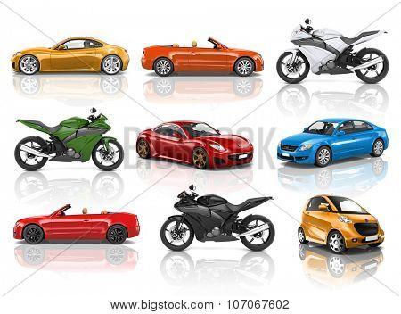 Motorbike Motorcycle Car Wheels Transportation Concept
