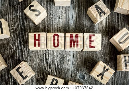 Wooden Blocks with the text: Home