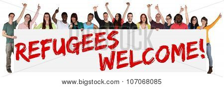 Refugees Welcome Sign Group Of Young Multi Ethnic People