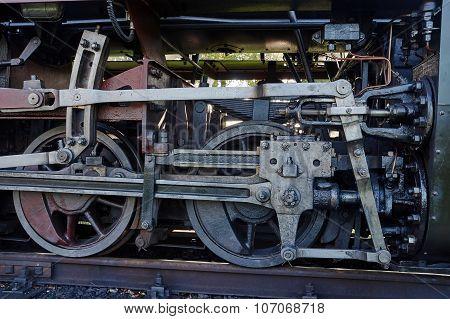 Fragment of mechanism old locomotive
