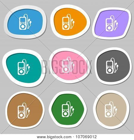 Mp3 Player, Headphones, Music Icon Symbols. Multicolored Paper Stickers. Vector