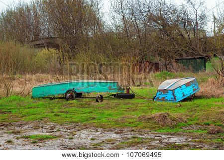 Old Boats On The Banks Of The Volga River