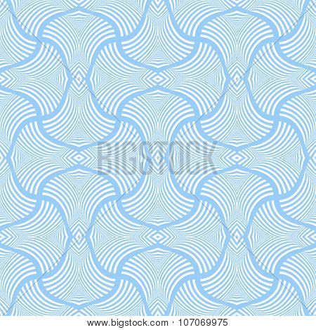 Seamless pattern with twisted striped elements. Vector art.