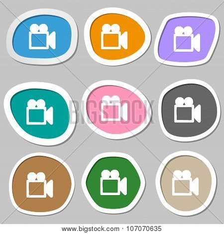 Camcorder Icon Symbols. Multicolored Paper Stickers. Vector