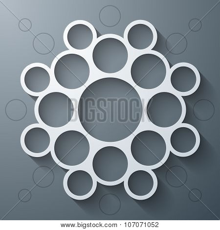 Abstract infographics symmetrical white circles mandala shape with shadow on grey background