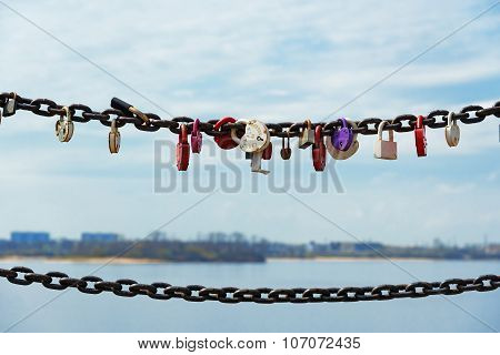 Locked Locks Of Love On The Iron Chain