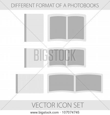 Icon Set Of Format Of Photobooks