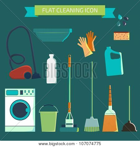 Flat vector color character set. House cleaning and laundry. Vec