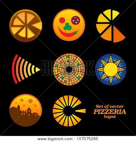 Set of isolated brown and orange round pizzeria logos on black background