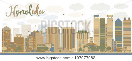 Honolulu Hawaii skyline with grey buildings and blue sky. Business travel and tourism concept with modern buildings. Image for presentation, banner, placard and web site.