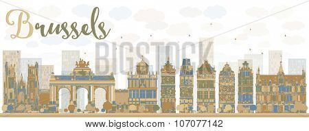 Abstract Brussels skyline with color buildings. Business travel and tourism concept with historic buildings. Image for presentation, banner, placard and web site.