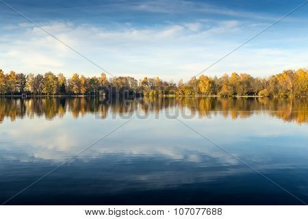 Lake At Evening In Autumn