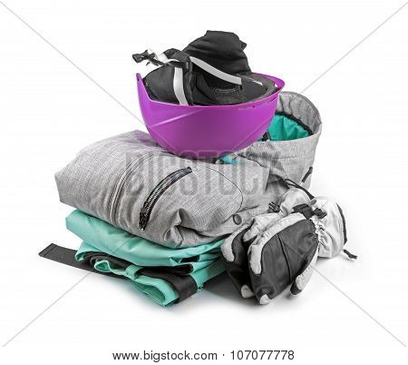 Snowboard, Ski Clothing Isolated On White