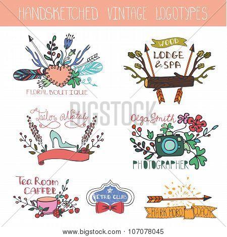 Vintage floral logotype set.Doodle hand drawing sketches kit