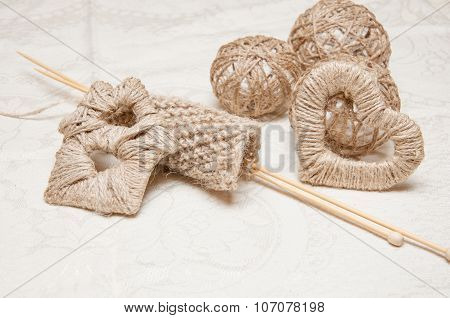 Beige Knitting And Jewelry Made Of Thread