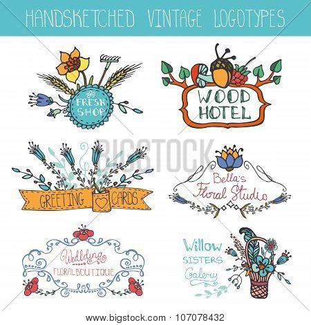 Vintage floral logotypes set.Doodle hand sketchy