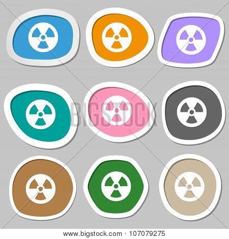 Radiation Icon Symbols. Multicolored Paper Stickers. Vector