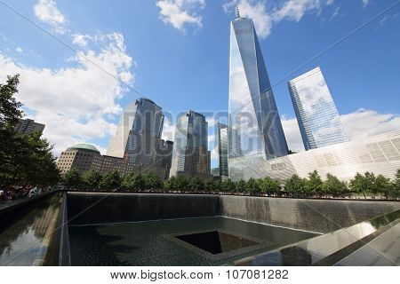 NEW YORK, USA - SEP 07, 2014: Memorial Complex to the victims of September 11, 2001 on the spot where stood the twin towers