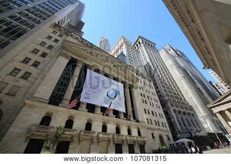 NEW YORK, USA - SEP 07, 2014: Building of New York Stock Exchange on Wall Street in New York, the main US stock exchanges