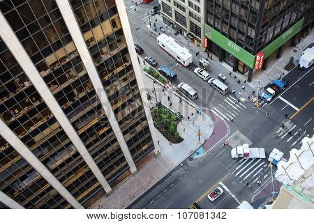 NEW YORK, USA - SEP 07, 2014: Crossroads of Water Street and Wall Street near skyscrapers in New York
