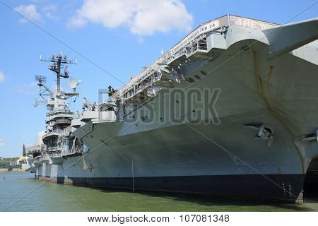 NEW YORK, USA - SEP 07, 2014: Naval and air and space museum in the US aircraft carrier Intrepid
