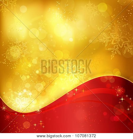 Abstract festive traditional golden Christmas background with a wavy red pattern and blurry lights, stars and snowflakes for the magical season to come.