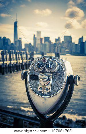 Tourist Binoculars At Liberty Island