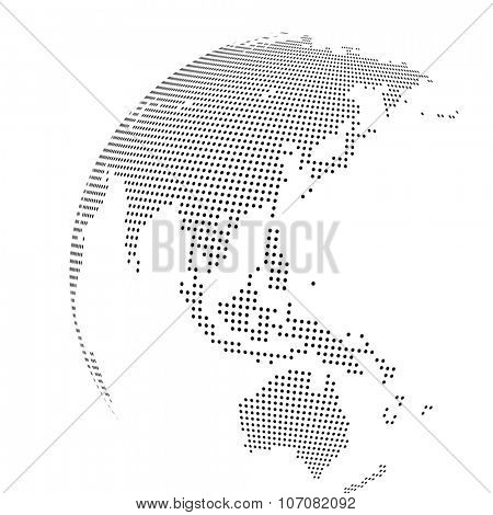 A`bstract dotted globe, Central heating view on Australia and New Zealand