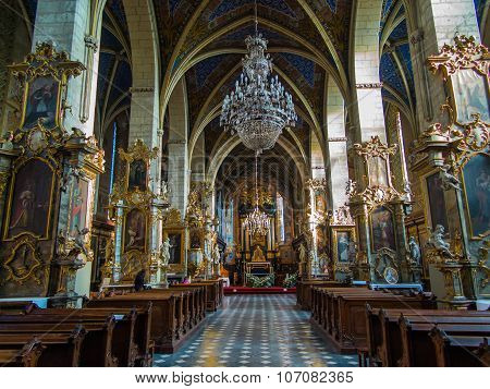 Sandomierz, Poland 16 October, 2015 .: The Interior Of The Cathedral In Sandomierz