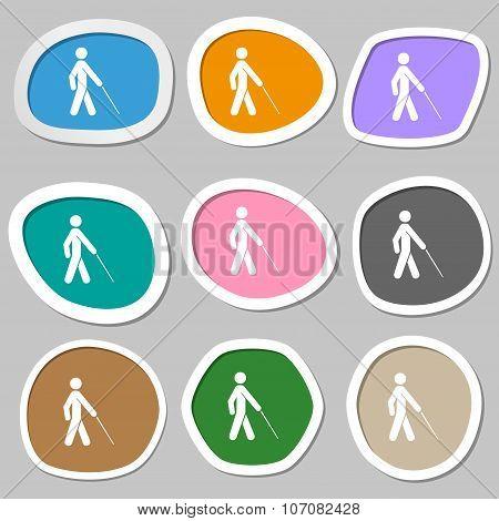 Blind Icon Symbols. Multicolored Paper Stickers. Vector