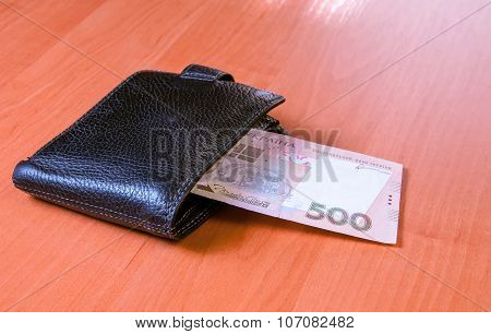 Five Hundred Ukrainian Hryvnia Banknotes In Black Purse