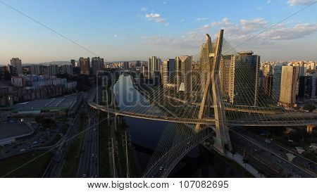 SAO PAULO, BRAZIL - CIRCA AUGUST, 2015: Aerial Shot of the Ponte Estaiada and Skyscrapers in Sao Paulo, Brazil